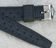 Heuer Carrera Chronograph Tropic Dive Band 18mm Curved Ends With Heuer Buckle