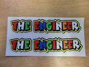 Valentino Rossi Style Text - The Engineer X2 Stickers / Decals - 5in X 1in
