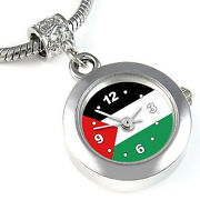 Palestine Country Flag Silver Dangle Charm Bead Pendant Watch For Bracelet