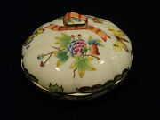 Gorgeous Herend Porc. Hand Painted Queen Victoria Covered Candy Dish Gold Trim