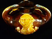 Antique Majolica George Washington And Abraham Lincoln Three-handled Footed Vase