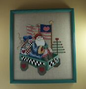 Patriotic Completed Finished Cross Stitch Father Christmas Santa Frame Linen