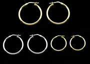 9ct Gold Plated And Sterling Silver Small Medium And Large Hoop Earrings And Singles