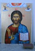 Orthodox Icon Christ Pantokrator Painted Hagiography 100x150cm Made In Greece