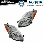 Headlight Headlamp Left And Right Pair Set For 09-11 Toyota Yaris Hatchback
