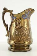 Antique Art Pottery Staffordshire Copper Lusteware Raised Colonial Lady Pitcher