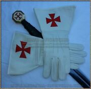 White Leather Gauntlet Gloves - Templar Crusader Medieval Armour Size M