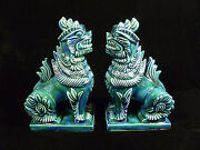 Vintage Pair Of Heavy Ceramic Chinese Temple Guard Dog Figurines