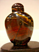 Vintage Chinese Gold And Red Pietersite Snuff Bottle 2 High 1