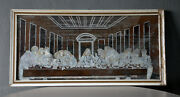 Vintage Jesus The Last Supper Pearl Sea Shell Old Picture Frame Wall Art God