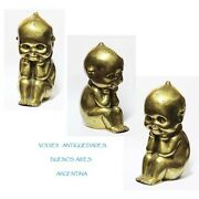 Lovely Big Old Bronze Kewpie Seating And Smiling 16 Cm X 9 Cm X 7 Cm