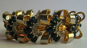 Mazer Wide Vintage Midnight Blue Faceted Glass And Rhinestone Retro Bracelet