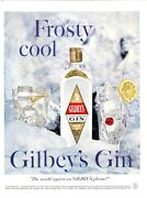 1958 Gilbeyand039s Print Ad London Dry Gin Vintage Bottle Frosty Cool Icy Theme
