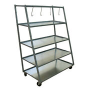 Champ Steel Metal 4 Rolling Shelves Shop Parts Rack And Hooks 1900 - Tools Storage