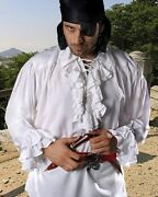 Pirate Shirt Ruffled Medieval Renaissance Rayon S/m - Xxxl 7 Colors New C1006