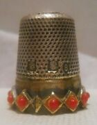 Antique Sterling Silver And Gold Thimble By J.a.henckels Germany Circa 1900s