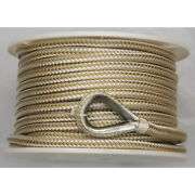 1/2 Inch X 250 Ft Gold And White Double Braid Nylon Anchor Line For Boats