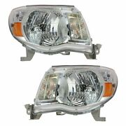 Headlights Headlamps Left And Right Pair Set For 2005-2011 Toyota Tacoma Pickup