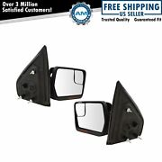 Mirrors Power Heated Turn Signal W/ Chrome And Black Caps Pair Set For 04-14 F150