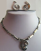 Margot De Taxco Vintage Mexico Sterling Convertible Necklace Pin And Earrings Set