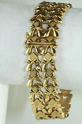 Vintage 1940and039s Italian Italy 18k Gold Wide 8 Inch Bracelet