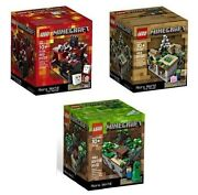 All 3 Minecraft Lego Sets Forest Village Nether 21102 21105 21106 Micro World