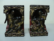 Fabulous Pair 19th Century Chinese Hand Carved Wooden Bookends, Figural Scene