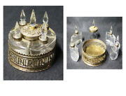 Very Interesting Antique Brass And Crystal Perfume Bottles And Compact Set All In 1