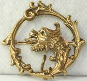 Victorian Antique 14k Gold Emerald Dragon Watch Pin Chatelaine