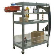 Champ Deluxe 2 Metal Shelves Station 1050-mf - Rolling Auto Parts Tools Storage