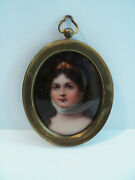 Wonderful 19th C. Miniature Portrait Painting On Porcelain In Oval Brass Frame