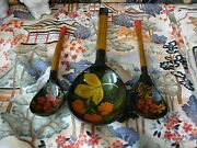 Vintage Wood Laquer Hand Painted Russian Spoons And Ladle