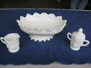 Westmoreland Milk Glass Lotus Pattern Footed Oval Bowlcreamer And Sugar Bowl