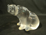 Lalique Clear And Frosted Crystal Polar Bear Figurine Sculpture 11637