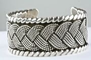 Vtg Hector Aguilar Mexican Sterling 940 Silver Wide Cuff Bracelet Mexico