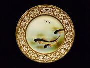 Exquisite And Rare Signed Nippon Gilt And Hand Painted Fish Plate - Circa 1900
