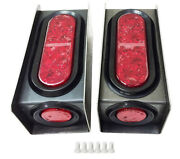 2 Steel Trailer Light Boxes W/red 6 Oval And 2 Marker Led Lights +wire Connector