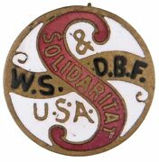Early And Graphic Enamel On Brass Lapel Stud For Workmanandrsquos Insurance Group.