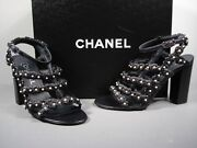 Dark Navy Lambskin Strappy Camellia Pearls Sandals Shoes Heels 36.5 New