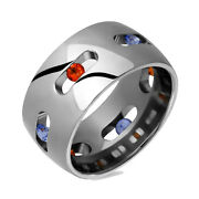 New Mens Titanium Ring Multi Colored Sapphire 10mm Engagement Band Size 4 - 14