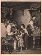 Father Tries To Fix Daughters Doll Antique Engraving Original 1877