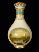 Kerr And Binns Worcester Hand Painted Gilt And Enameled Scenic Vase – Circa 1857