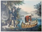 1860 Original Large Lithograph - American Hunting Scene - Duck Shooting- Dogs