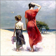 Pino Hand S/n Embell Stretched Canvas Afternoon Stroll Mom/ Child Beach 32x32