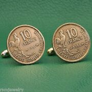 French Cockerel Coin Cufflinks, Gallic Rooster 10 Francs France 4th Republic