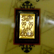 Acb Gold 24k Solid Bullion Minted 5grain Bar 99.99 Fine Au With Certificate