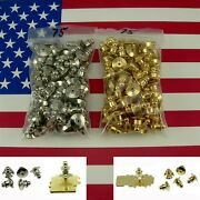 75 Locking Ball Top Tie Tac Pin Backs Clutch Clasp Fastener Gold Chrome Finding