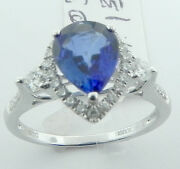 Ladies 18k White Gold Pear Shaped Sapphire Diamond Ring New Size 6 1/2