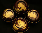 5 Vintage Japanese Showa Period Lacquered Wood Cover Bowl Set Of 4