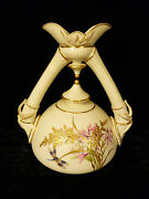 Rare Royal Worcester Double Spouted And Handled Vase W/ Dragonflies Andndash Circa 1887
